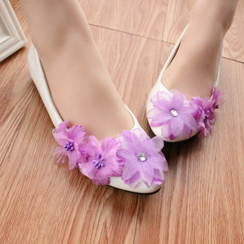 Online Shop Light Purple Floral Rhinestone White Wedding Shoes Bridesmaid Flat Womens Low Heeled Simple Pu Leather