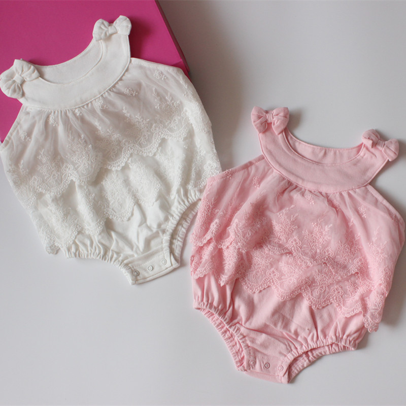 Lovely Bows Baby Girl Clothes Pretty Baby Lace Romper Newborn Jumpsuit Infant Ruffle Lace Romper ...