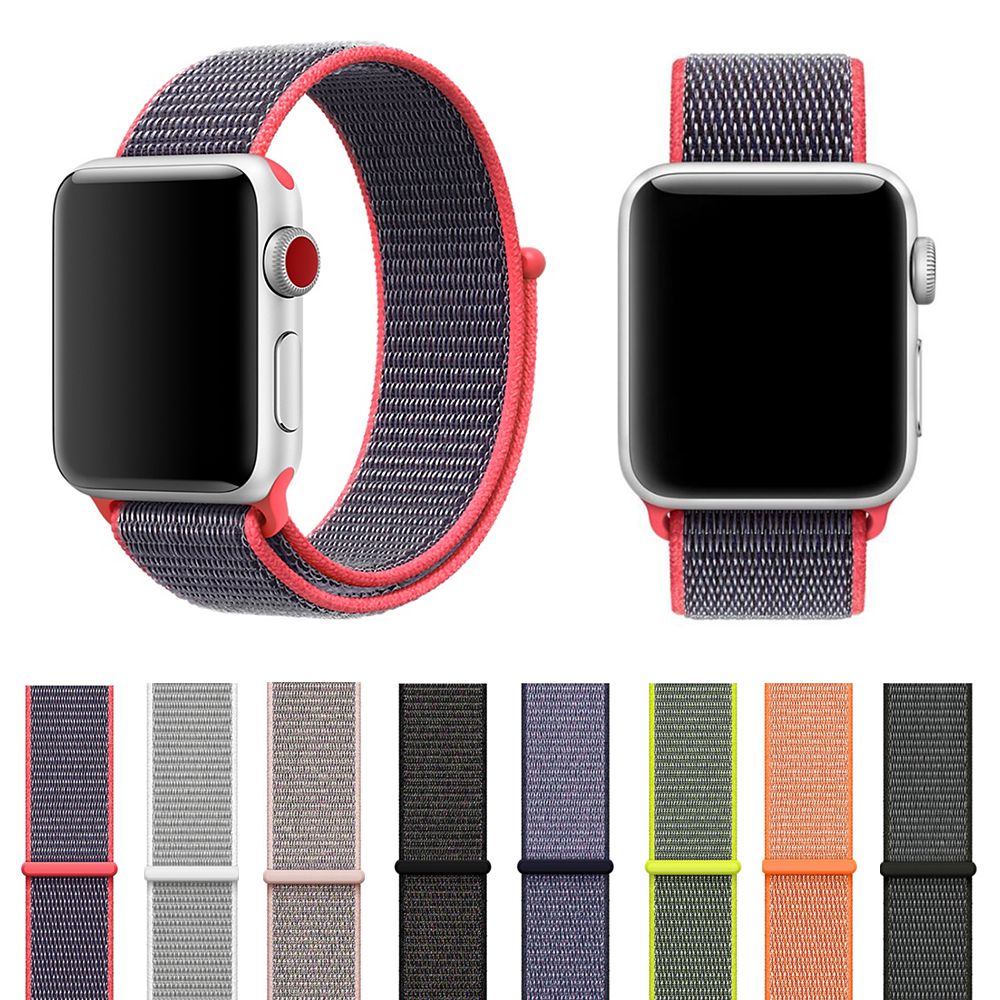 Sport Loop Wrist Band For Apple Watch 3 38mm 42mm Series 3 2 1 Original Iwatch Woven Nylon Olive Bracelet Strap Easy Adjustment mu sen woven nylon band strap for apple watch band 42mm 38 mm sport fabric nylon bracelet watchband for iwatch 3 2 1 black