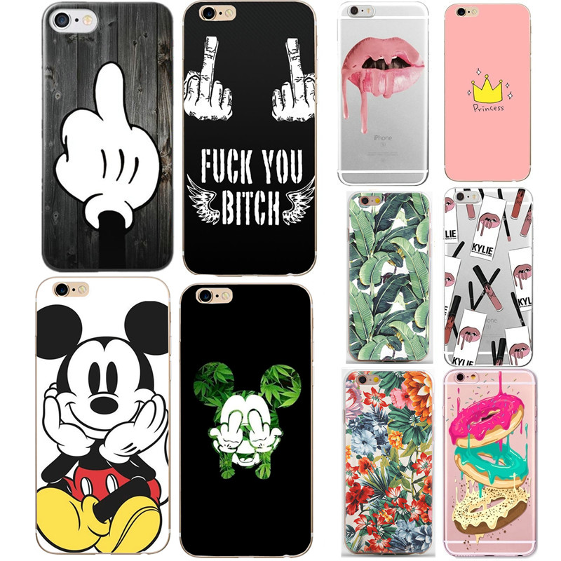 Case For iphone 5s 5 s se Case Cover Mickey Minnie Silicone Soft Shell Cover For Apple iPhone 6s 6 s 7 8 plus x 10 Bags Funda protective silicone back case cover w anti dust plug for iphone 5 5s transparent black