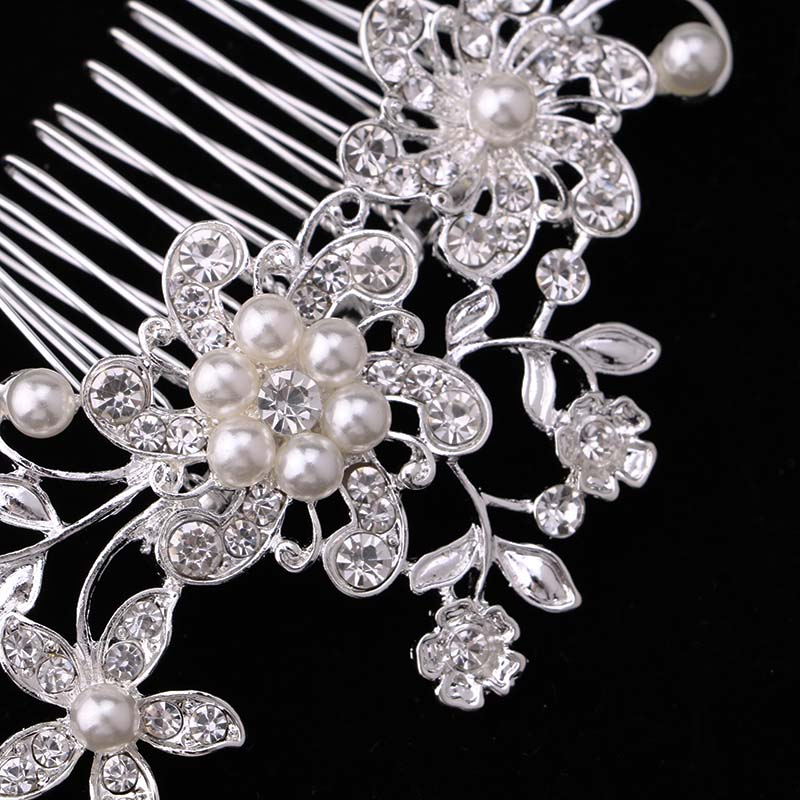Bridal Hair Accessories Lace Flower Crystal Pearl Rhinestone Hair - Fashion Jewelry - Photo 3