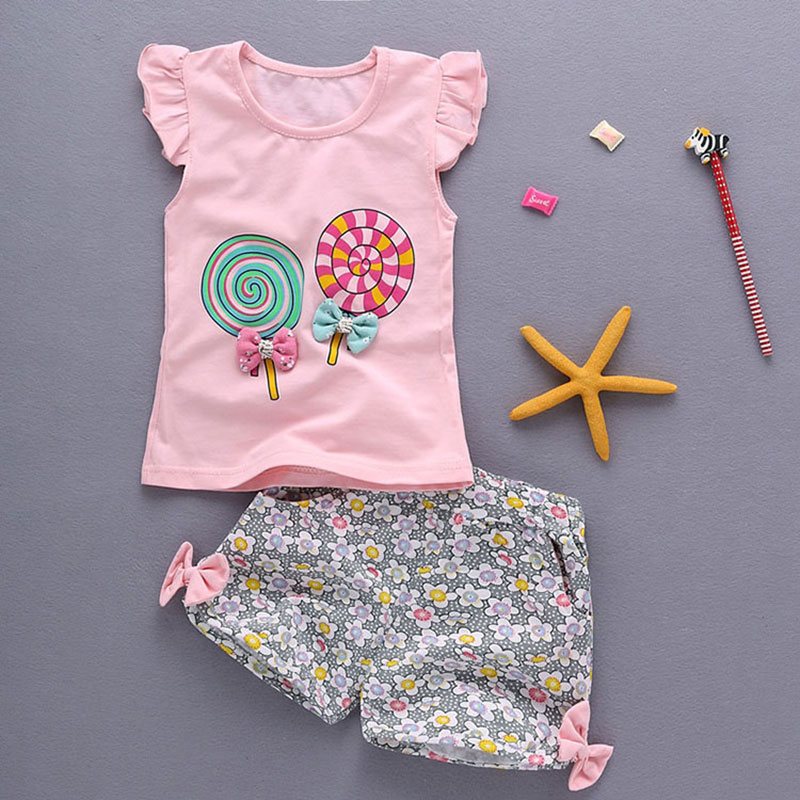 Baby girl clothes sports print pattern T-shirt tops set for summer newborn babies birthday pullover suit baby clothing vest sets
