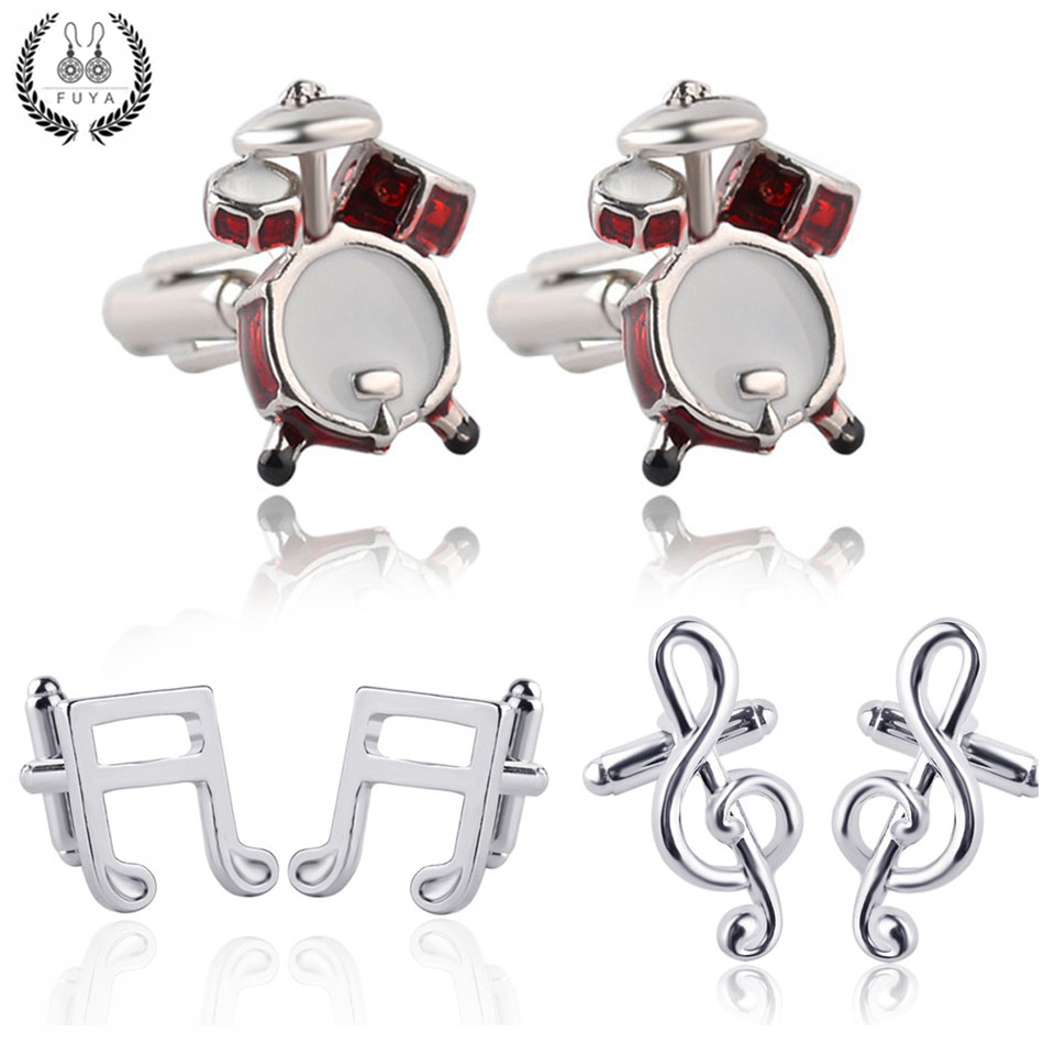 Trendy Silver Note Slur Treble Clef Red Drums Kit Cufflinks For Mens Shirt Jewelry Fashion Music Twins Cufflinks Buttons Gifts