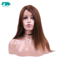 ALLRUN Lace Front Peruvian Straight Hair Wig With Bangs 100% #33 Brown Human Hair Parting Lace Wigs Non Remy Hair Average Size