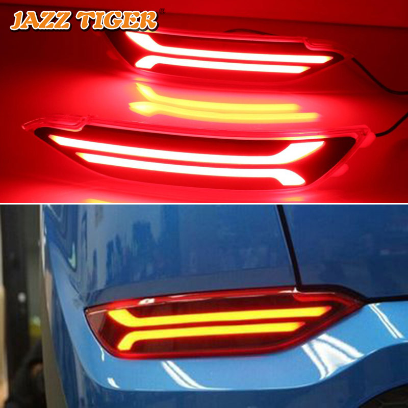 JAZZ TIGER 2PCS Car LED Rear Fog Lamp Brake Light Turn Signal Light Bumper Decoration Lamp For Hyundai Tucson 2015 - 2018 sncn multi function led reflector lamp rear fog lamp bumper light brake light turn signal light for nissan murano 2015 2016