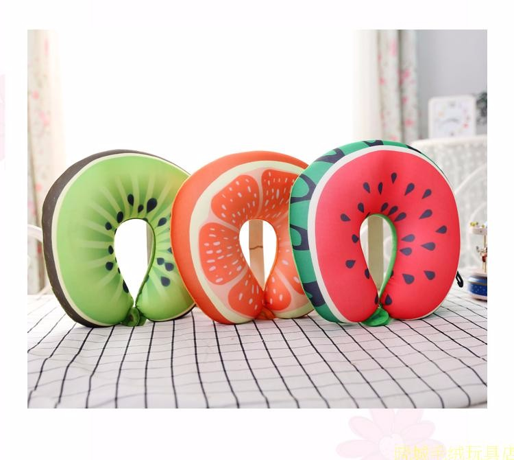 2017 Creative New Design Auto Cushion 3D Watermelon U-shaped Neck Pillow Lunch Break Creative Travel Pillow Free Shipping  3