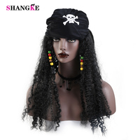 SHANGKE Long Black Curly Wigs For Black Women Synthetic Hair Halloween Costumes Party High Temperature Fiber