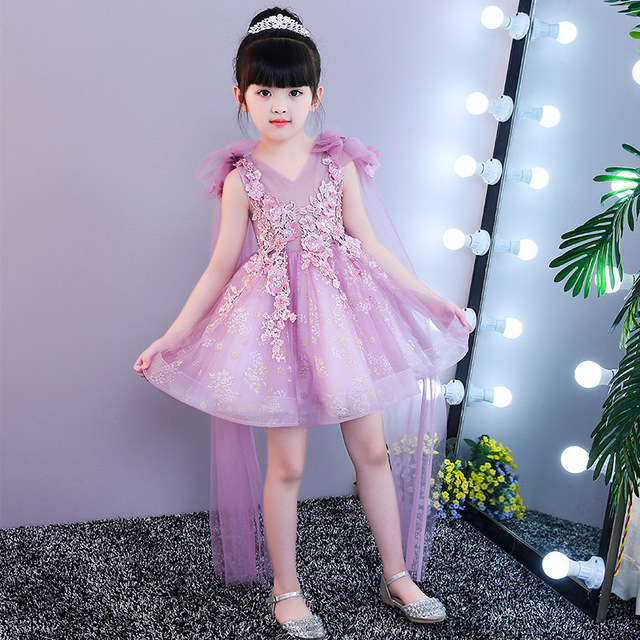 Glitz Pink Tulle Girl Summer Dress Flower Girl Party Pageant Dress Princess Wedding  Dress Appliques First Communion Dresses 6c2644f3b0d6