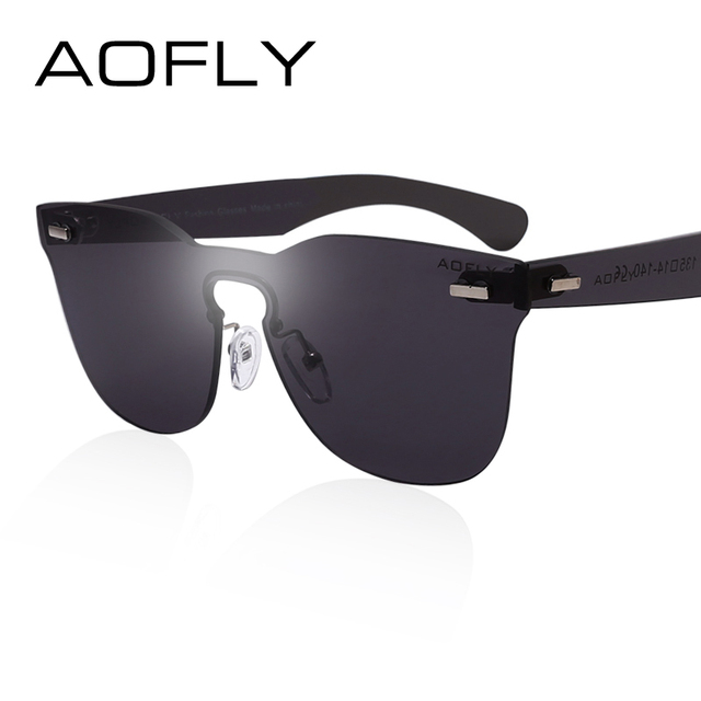 AOFLY Square Frame Women's Rimless Sunglasses Female Original Brand Designer Sun glasses Mirror Color Elegant Sunglasses UV400