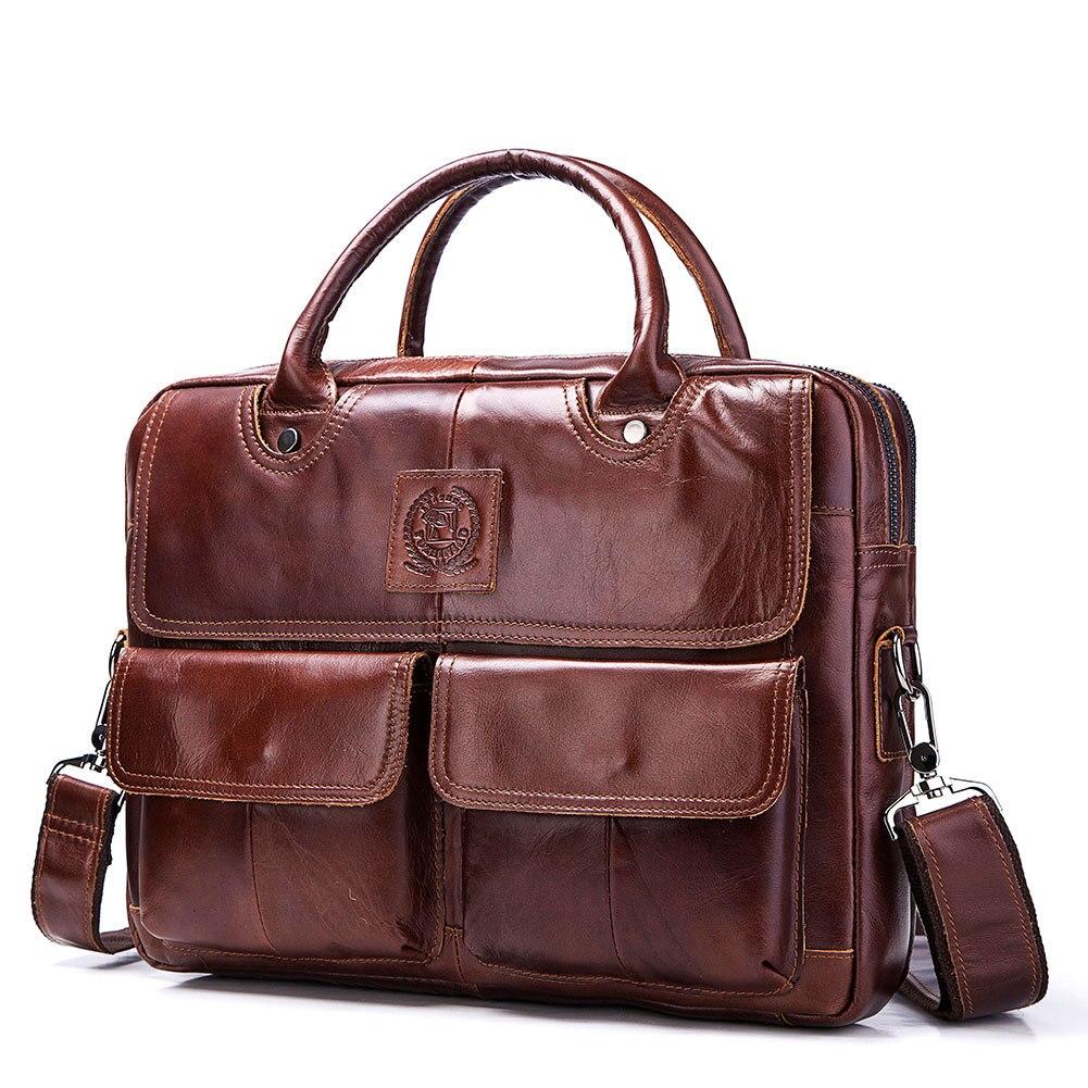 Bolsos de cuero genuino de los hombres primera capa de cuero de negocios portátil maletín bandolera bolso de cuero marrón bandolera - 3