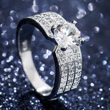 HUITAN Wedding Ring Band Brilliant Cubic Zircon Prong Setting Engagement With Micro Paved Hot Selling Bridal Women