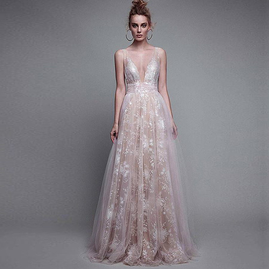 Custom Made Deep V Neck Illusion Lace Evening Dresses Long Backless Women Evening Dress 2019 Robe De Soiree Formal Gowns