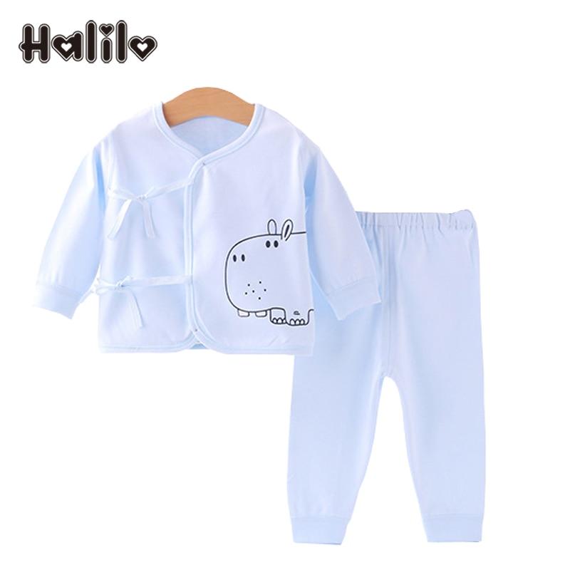 Halilo Newborn Boy Clothes Set Soft Cotton Belt Tops Pants 2pcs Baby Girl Clothing Set Baby Girl Boy Clothes Newborn Outfit Sets