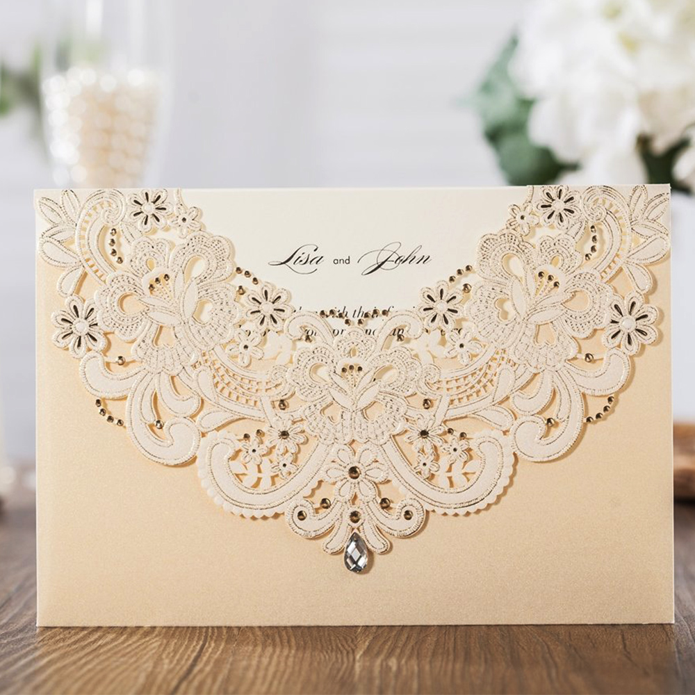 Wishmade 50pcs Champagne Gold Laser Cut Wedding Invitation Cards With Drill And RSVP Card Thank You