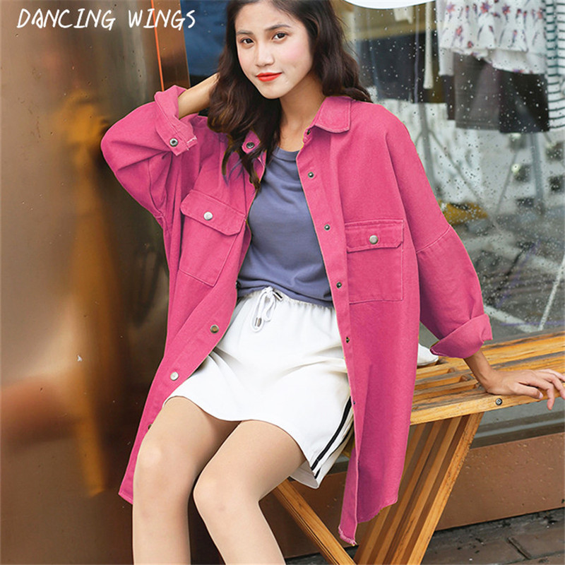 Fashion Long Sleeves Casual Denim Shirt Women Spring Autumn Loose Thin Coat Solid Color