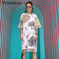 2019 Summer New Women Dresses Two Fake Gauze Mesh Short Sleeve Long T Shirts Tee Dress Printed Exploding Head Streetwear V415
