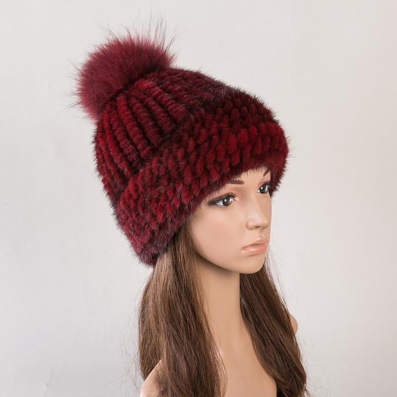 Réel fourrure chapeau de vison naturel fourrure casquettes pour femmes automne 6 couleurs nouveau style fourrure bonnets russe hiver chaud fourrure chapeaux H142 - 3