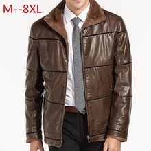 9XL 8XL 7XL 6XL 5XL 4XL New Warm Winter Sheepskin Men's Leather jacket Men Leisure Fur coat Men Brand luxury Real Leather coat