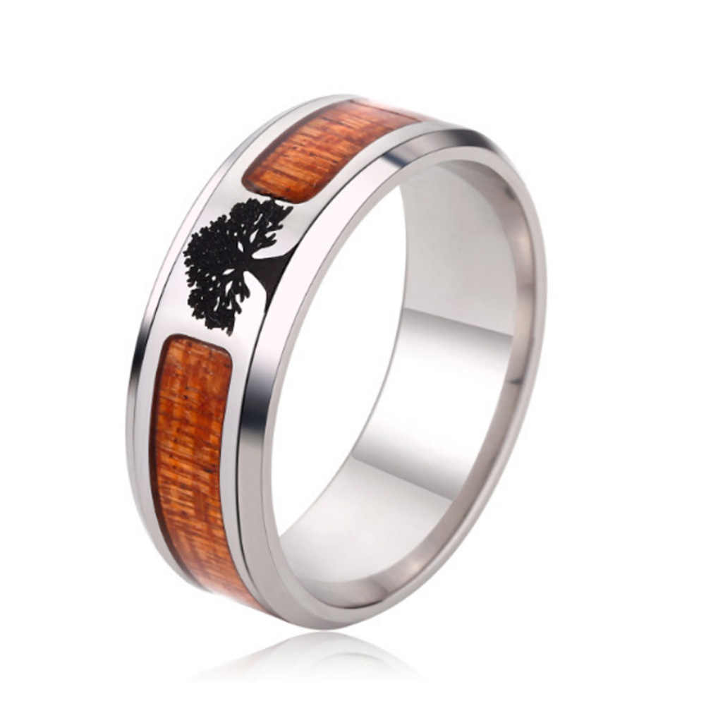 Hot Sale Wood Inlay Fashion Jewelry Men's Classic Wedding Fashion TREE Including Half Size Ring