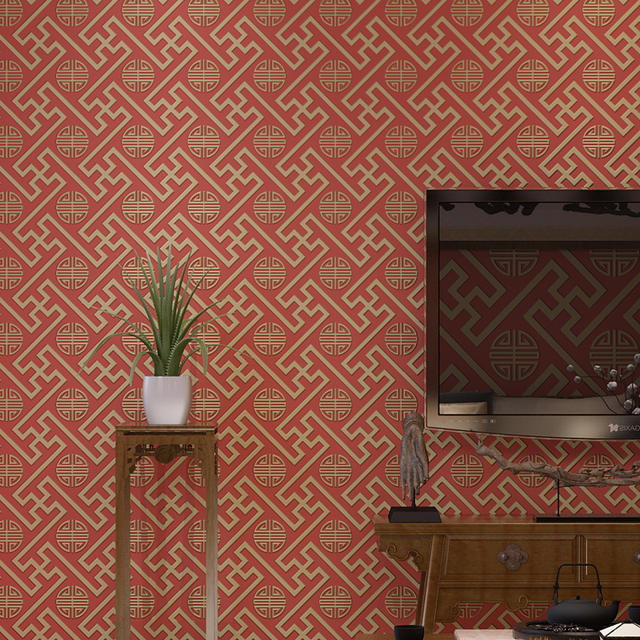 Modern Simple New Chinese Plain Bronze Pattern Non Woven Wallpapers Room Classical Swastika Living