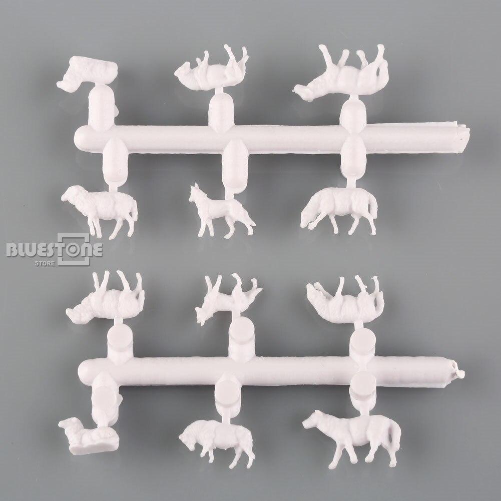 60pcs 1:150 UnPainted White Farm Animals Sheep N Scale