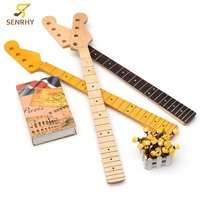 Senrhy 4 String 21 Fret Bass Guitar Neck Maple Rosewood For Maple Bass Guitar Neck Replacement