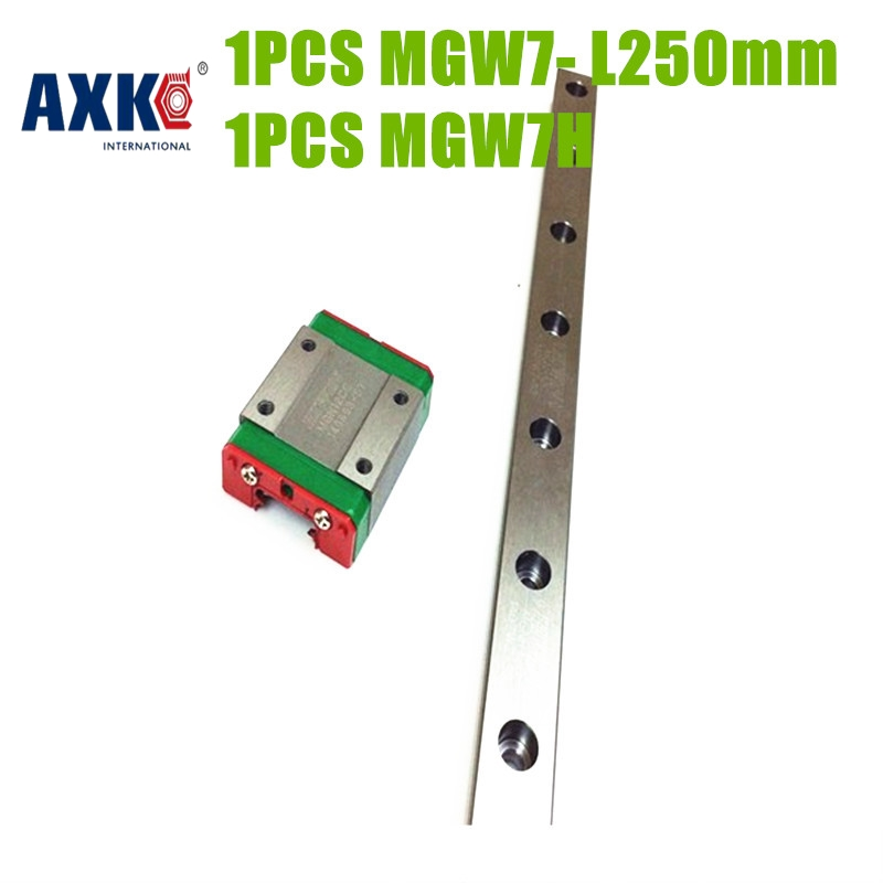 Axk Free Shipping Linear Guide Mgw7- L 250mm + Mgw7h Block axk mr12 miniature linear guide mgn12 long 400mm with a mgn12h length block for cnc parts free shipping