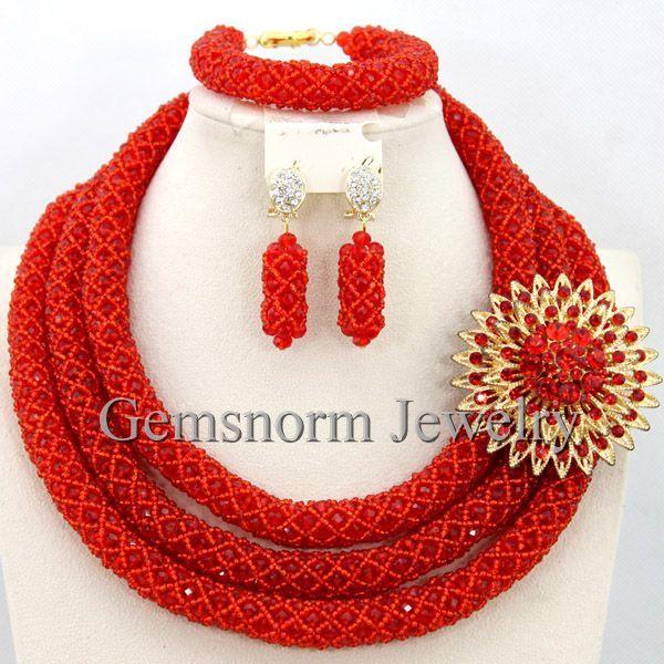 Rojo 2017 de la Moda Africana Crystal Beads Necklace Set Nigeriano Boda Perlas Africanas Joyería Conjunto Envío Gratis WB734