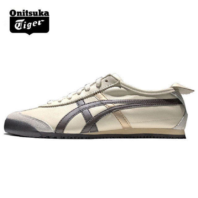 48ba6554736 2018 ONITSUKA TIGER MEXICO 66 Men Women Shoes Beige brown Leather Rubber  Street Low Student Sneakers Badminton Shoes THL202-0207