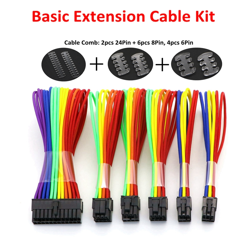 Basic Extension Cable Kit - 1pc ATX 24Pin, 1pc EPS 4+4Pin, 2pcs PCI-E 6+2Pin, 2pcs PCI-E 6Pin Rainbow Power Extension Cable. formulamod pci 6pin motherboard power extension cable 18awg 6pin extension cable for water cooling computer fmpci6p c
