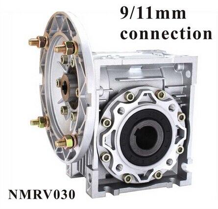90 degrés Boîte NMRV030 Vis sans fin Réducteur de Vitesse 5:1-80: 1 pour 9mm ou 11mm arbre d'entrée