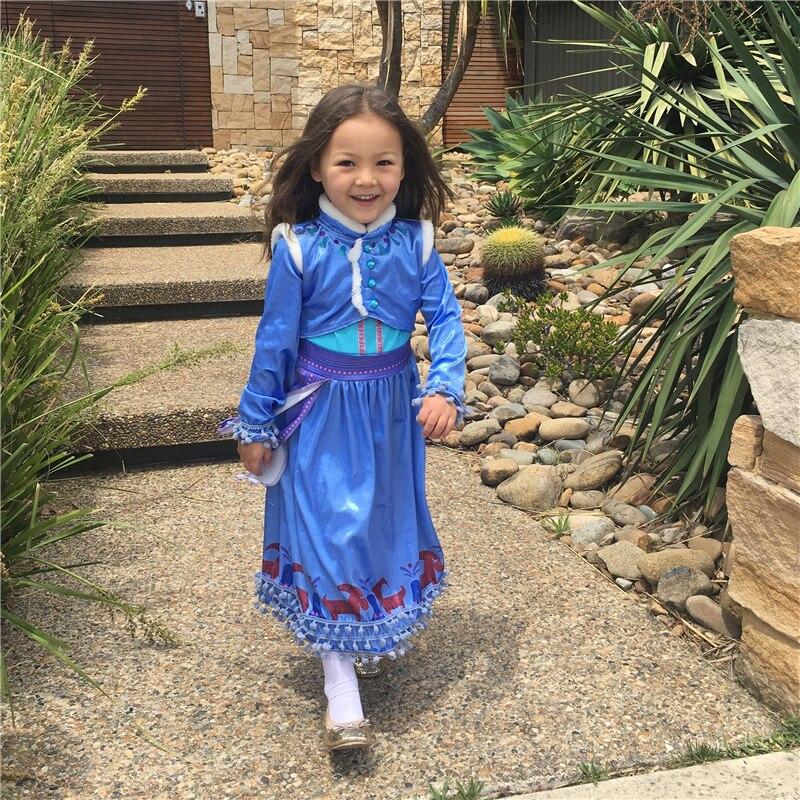 Costumebuy Snow Queen Anna Dress Party Vestidos Cosplay Girls Clothing Print Birthday Frozen Princess Dresses Kids Costume