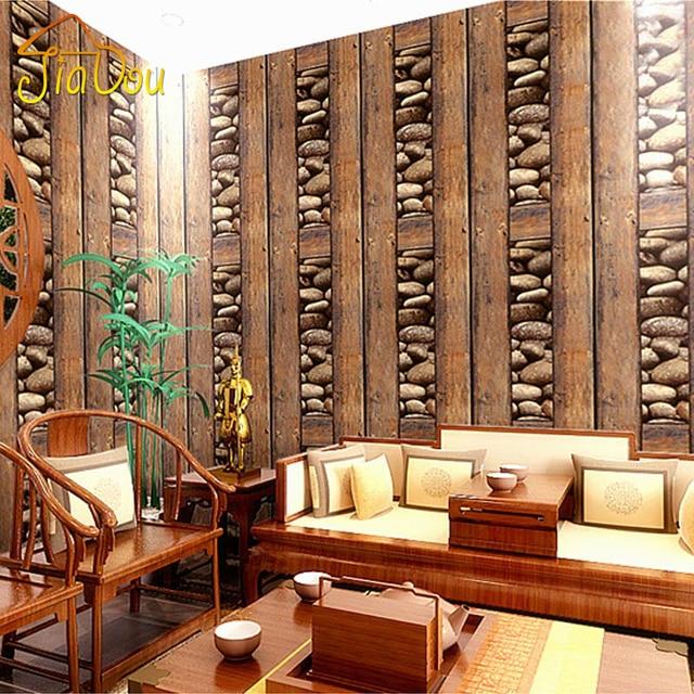 Chinesische Vintage Malerei Holz Stein 3D PVC Feuerfeste Tapete Wohnzimmer Sofa Hintergrund Vinyl Wandpapierrolle Papel De