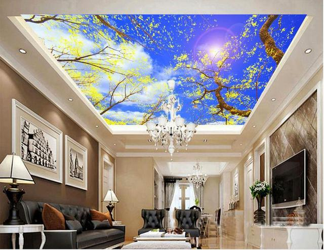 3d Wall Murals Custom 3d Ceiling Murals Wallpaper Trees And White Clouds  For Bedroom Walls Ceiling