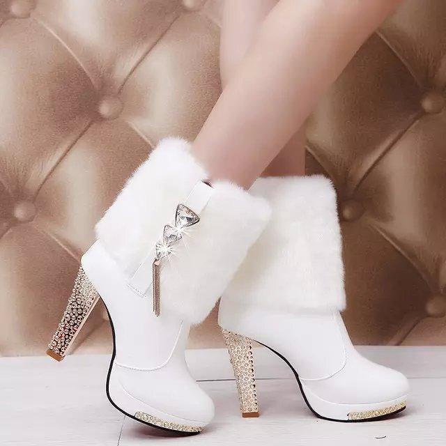 Cortas Suave Lady Sexy Nuevo Pu Invierno blanco Tobillo Alto De Negro Cuero Botas Negro Blancas Caliente Calidad Alta Tacón Piel 2016 pqaCxz7w7
