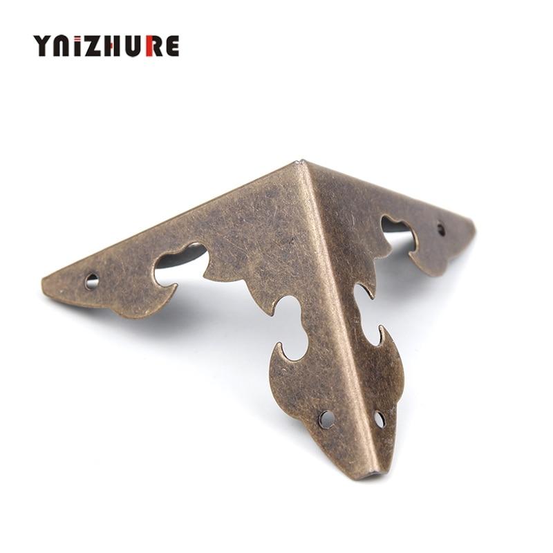 YNIHZURE Case Box Corners For Furniture Decor Triangle Flower Side,Wooden Box Corner,Bronze Tone,30*30mm,4Pcs