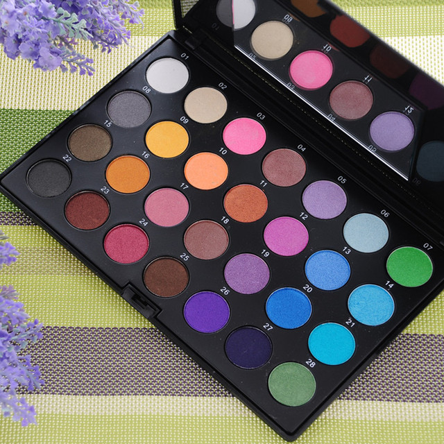 High Quality 28 Color Eye Shadow Set with 2 Brushes Mirror Beauty Makeup Set Waterproof Female Makeup Products
