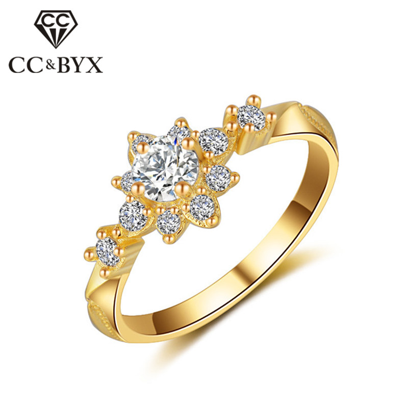 CC Vintage Bijouterie Rings For Women Bridal Wedding Jewelry Engagement Ring Flower Shape Parure Bijoux Femme Wholesale CC813a