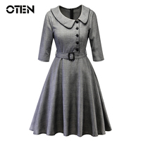 OTEN Women's 1940s Vintage 2018 Fashion Buttons 3/4 Sleeve Buttons Plaid A Line Wear to Work Evening Party Dresses with Belt