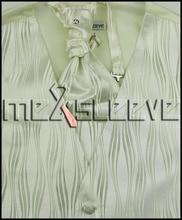 XS – 15XL  Italian Design  ivory fashion Tuxedo Vest & hanky Set.
