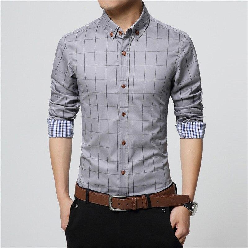 ERIDANUS 2017 Men's Plaid Cotton Dress Shirts Male High Quality Long Sleeve Slim Fit Business Casual Shirt Plus Size 5XL M433 6