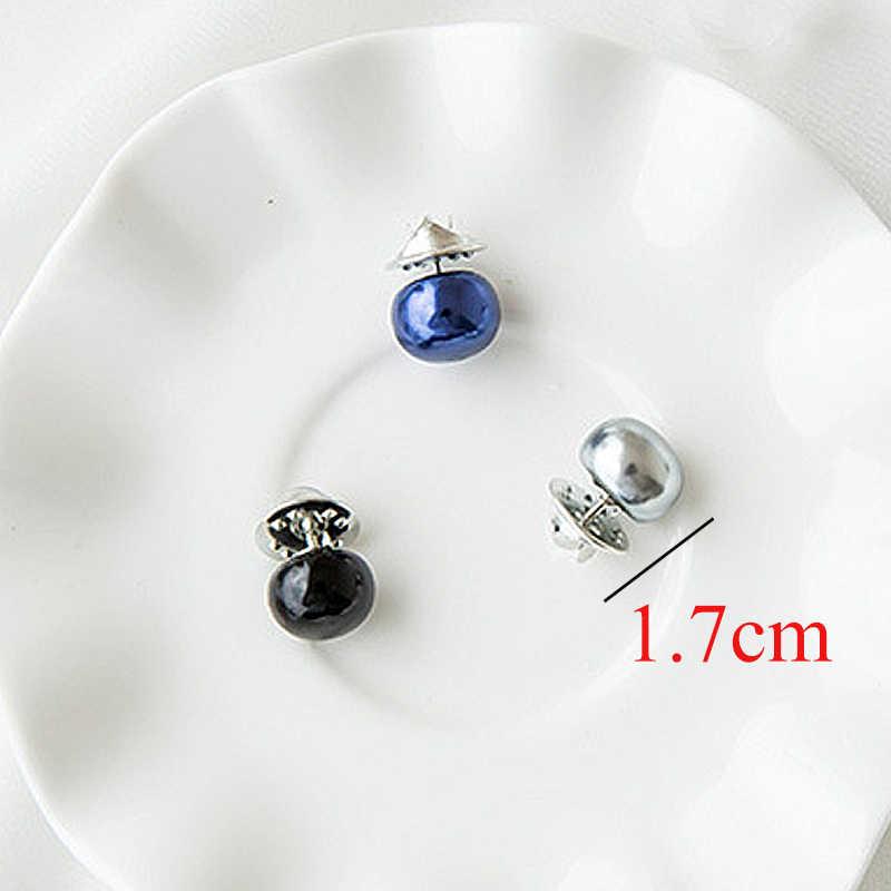 Hot Sale 1Pc Imitation Pearl Circle Brooch PU Button Women Zircon Fashion Brooches Colourful