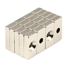 цена на 20pcs Super Strong Block Cuboid Neodymium Magnets 20 x 10 x 5mm Countersunk Hole 4mm Rare Earth N50 Free Shipping!