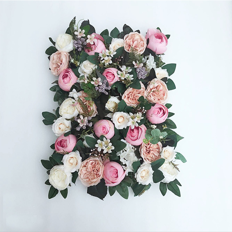 JAROWN Artificial Flower Row Simulation Rose Peony Hydrangea Background Wall Fake Flowers Wedding Feast Arrangement Props Flores (1)