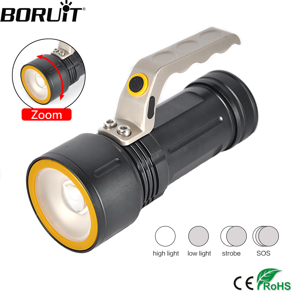 BORUiT XML T6 LED Flashlight 4-Mod Zoomable Torch IPX6 Waterproof Portable Lantern Camping Fishing Lighting by 18650 Battery boruit xml t6 led flashlight 4 mod zoomable torch ipx6 waterproof portable lantern camping fishing lighting by 18650 battery