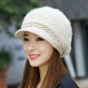 Fox fur ball cap winter hat women beanies cap 2