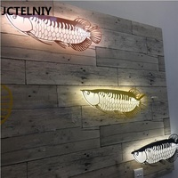 Nordic led wall lamp creative art dragon fish aisle hall lobby front desk living room background wall lamp