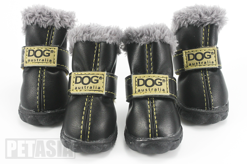 winter dog boots black