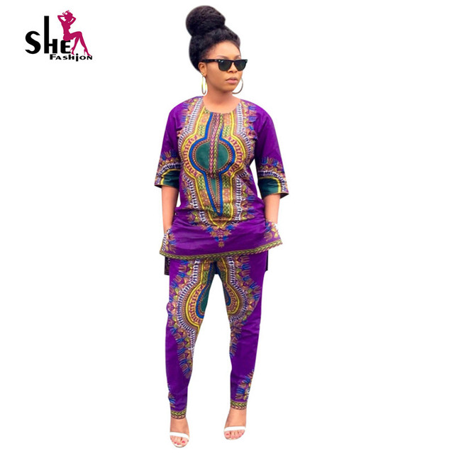 Wholesale Dashiki Traditional African Clothing 2 Piece Set Women Africaine  Print Dress+Pant Autumn Clothes fba2426012d4