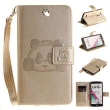 For LG G4 H818 H815 H810 PU Leather Case Stand Function Card Holder Enbossed Panda Magnetic Flip Wallet Purse Case(China)